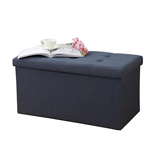 """soges 30""""x15"""" Folding Storage Ottoman, Storage Bench Footrest Seat Toys Collection, Linen Fabric, Midnight Blue ALL-2001-4"""