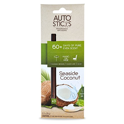 Enviroscent Autosticks Aroma Diffusers for Cars, Seaside Coconut, Box of 3 Auto Stick