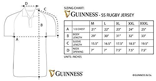 ef425fd04e9 Guinness Arthur Signature Performance Rugby Jersey - Black and Cream  Polyester Short Sleeve Polo Shirt
