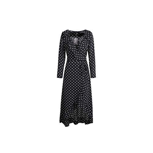 Polka Dot Ruffle Wrap Long Dress Women Split Long Sleeve Spring Casual Dress Streetwear Black Maxi Dress,Dot 1,L ()