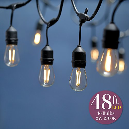 Keymit New 48Ft 2W 200LM 2700K Vintage Ambience LED Outdoor String Lights 15 Sockets E492997 1Pack from keymit