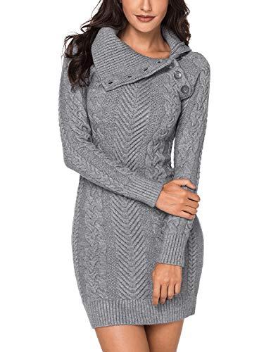 (Lookbook Store Women's Grey Asymmetric Button Collar Cable Knit Bodycon Sweater Dress M)