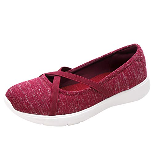 Ice Maker Stainless Steel Toe - Respctful✿Women's Casual Walking Loafer -Round Toe Mesh with Comfortable Slip On Drving Shoes Ballet Flat Wine