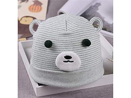 Gorro de dormir de algodón suave para bebé, diseño de oso de rayas para recién