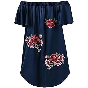 Sentao Mujer Flores Bordados Verano Suelto Vestir Playa Fuera del Hombro Vestidoes Azul L