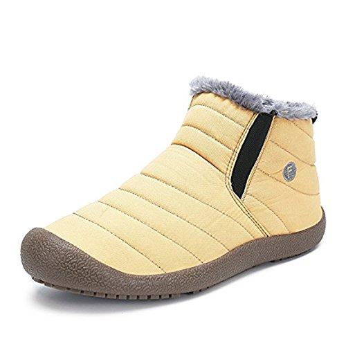 neige résistant haut femmes beginning Chaussures fausse l'eau en Col en à et plein pour Auspicious hommes jaune de Bottines air d'hiver doublées fourrure SP1Eqxqw4