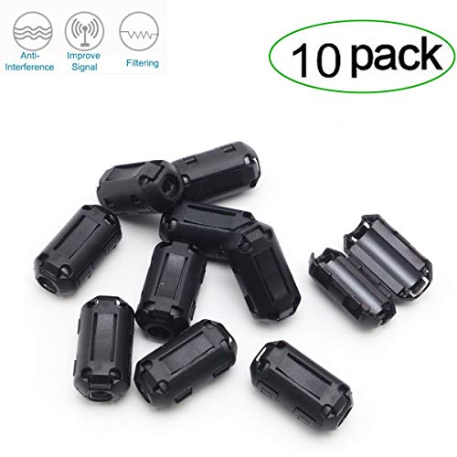 Mounted Choke Cable - Topnisus [Pack of 10] Clip-on Ferrite Core Ring Bead Anti-Interference High-Frequency Filter RFI EMI Noise Suppressor Cable Clip (5mm Inner Diameter)