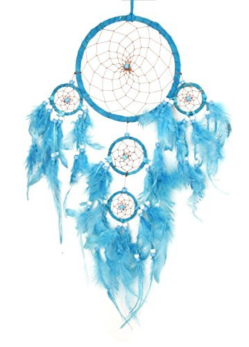 - Large Hanging Windchime Dreamcatcher Brown Feathers and Beads - Pastel Blue