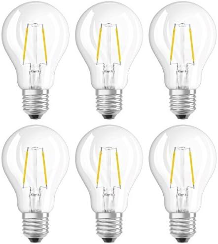 Osram LED Star Classic A Lampe, in Kolbenform mit E27-Sockel, nicht dimmbar, Ersetzt 15 Watt, Filamentstil Klar, Warmweiß - 2700 Kelvin, 6er-Pack