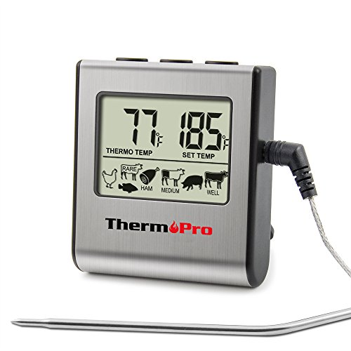 ThermoPro TP-16 Large LCD Digital Cooking Food Meat Smoker Oven Kitchen BBQ Grill Thermometer Clock Timer with Stainless Steel Tempera, Standard, Silver