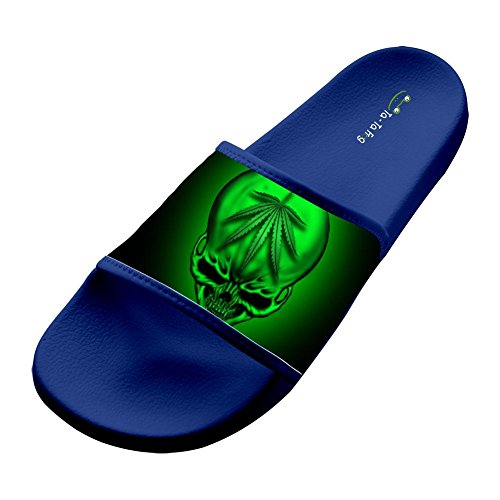 Price comparison product image Weed Smoking Skull Fashion Slide Sandals Indoor & Outdoor Slippers 7 D(M) US