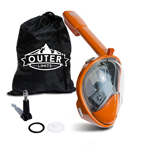 (Outer Limits Full Face Snorkel Mask Adult - Works with GoPro - Scuba Mask - 180° Panoramic View - New 2019 Bubble Design with a Longer Snorkle - Snorkeling Gear - Adult Mask and Snorkel Sets)