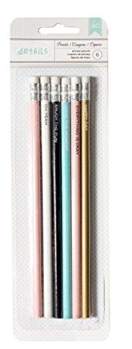 American Crafts 370837 6 Piece Designer Desktop Pencils, Phrases