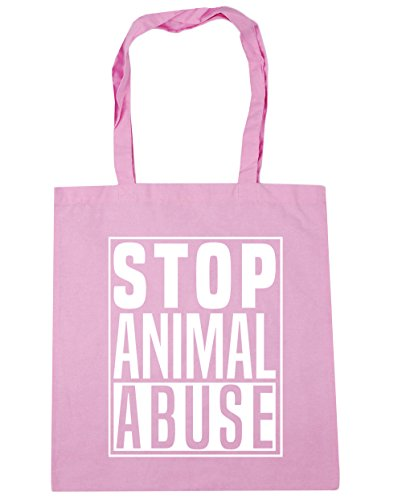HippoWarehouse Stop Animal Abuse Tote Shopping Gym Beach Bag 42cm x38cm, 10 litres Classic Pink