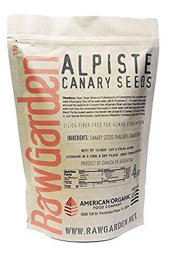 (Raw Garden Canary Seed (Alpiste) (1 Pack 4 lbs) for Human Consumption, Silica Fiber Free. )