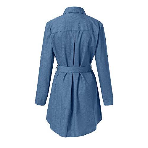 Maniche Con Donna In Jeans Cintura Denim Azzurro Bottoni E Abito Lunghe 5Rjq34AL