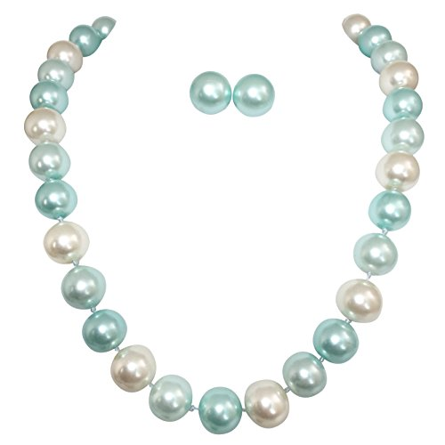 (14mm Single Strand Glass Beaded Simulated Pearl Necklace Stud Earrings Set (Blue & Ivory))