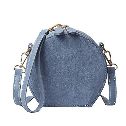 HPASS Moda cartera Redondo Esmerilado Piel Sintética Lady Único Bolso de Hombro Corssbody Bolsa para Mujer, Azul, Small