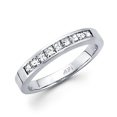 0.38 Ct Princess Diamond (Size- 9.5 - 14k White Gold Princess Cut Channel Set Diamond Wedding Ring Band .38 Ct (G-H Color, I1 Clarity))