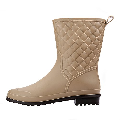 Mid Boots Khaki Womens Rubber Short Waterproof Black Rain Slip Rain 17KM Anti Calf Shoes WnYH0Owqq