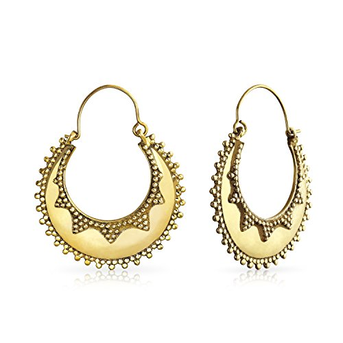 - Boho Bali Tribal Style Caviar Beaded Edge Crescent Round Flat Shaped Large Hoop Earrings For Women Gold Plated Metal