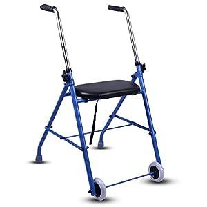 Andador de aluminio con asiento | Andador plegable con ruedas ...