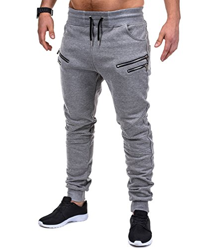 BetterStylz SaschaBZ Jogginghose Zip Slim Fit Sweatpants Jogger Fitness Trainingshose Paris Style div. Farben (S-XXL) (Medium, Hell Grau/Schwarz)