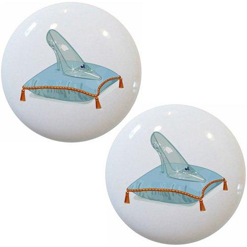 Hardware Slipper Set (Set of 2 Glass Slipper Ceramic Cabinet Drawer Pull Knobs)