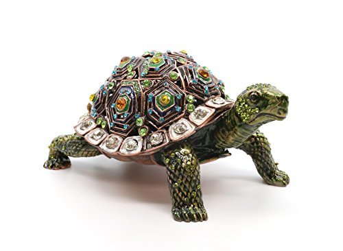 Swarovski Turtle Crystal (Faberge Box Decorative Enameled Figurines, 24K Gold Trinket Jewelry Box with Swarovski Crystal (Green Turtle))