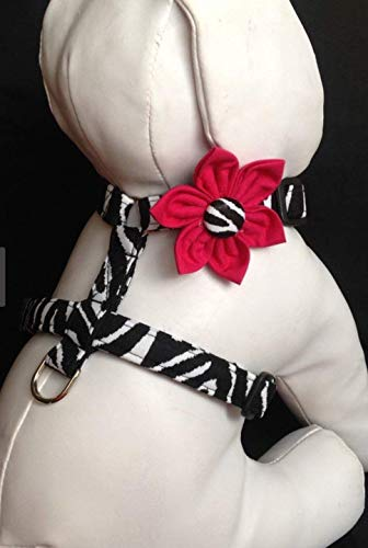 Animal Print Dog Harness with Flower, Black and White Zebra Print quick Release Buckle Pet Harness Adjustable Sizes XS, S, M
