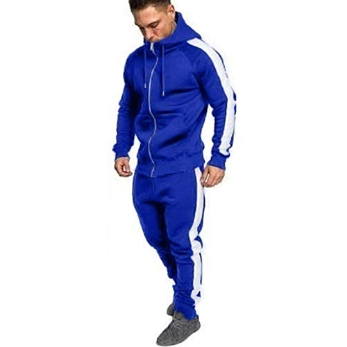 Sunmoot Stripes Sport Suit for Mens New Spring Zipper Hoodie Sweatshirt Top Pants Sets Tracksuit Blue