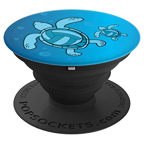 Volleyball Turtle Blue Cute Fun-ny Sport Girls Mom Gift PopSockets Grip and Stand for Phones and Tablets (Turtle Volleyball)