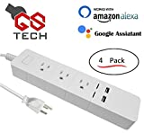 GS Tech WiFi Smart Home Power Strip With 2 USB Ports, Compatible with Alexa, Google Home And More (4 Pack)