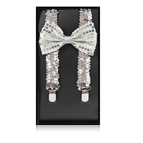 Buha Suspenders for Men, 2 in 1 Suspenders and Bow Tie, Mens Outfits Casual Suspender and Bow Tie Special Edition (Sequins-Silver) -