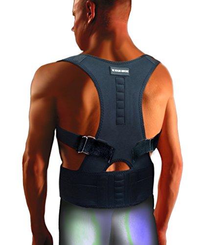 (Back Posture Corrector Brace - Adjustable Back Neck Shoulder Chest Support - Best For Back Support - Spine and Back Pain Relief Magnetic Kyphosis Brace undershirt for spine alignment (XL-Men,)