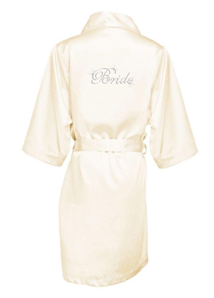 Rhinestone Bride Satin Robe Style DBBRRB, Ivory, S/M