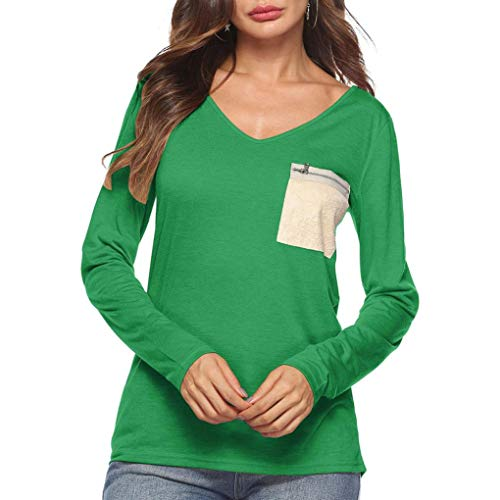 ☀☀Clearance! Womens Blouse, NEARTIME Autumn Ladies Casual Loose Tops V-Neck Long Sleeve Zipper Pocket T-Shirt Tunic Tops