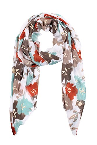 Jaweaver Lightweight Soft Scarves Fashion Flowers Print Pattern Headscarf Women's Shawl Wrap (Green) ()