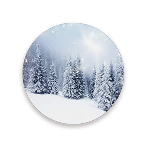 YYZZH Merry Christmas Sparkling Snow Fir Tree Forest Snowflake Ceramic Coasters For Drinks Absorbent Stone Coaster Round Cup Mat Pad Set Of 2 With Cork Bottom Prevent Furniture Dirty Scratched