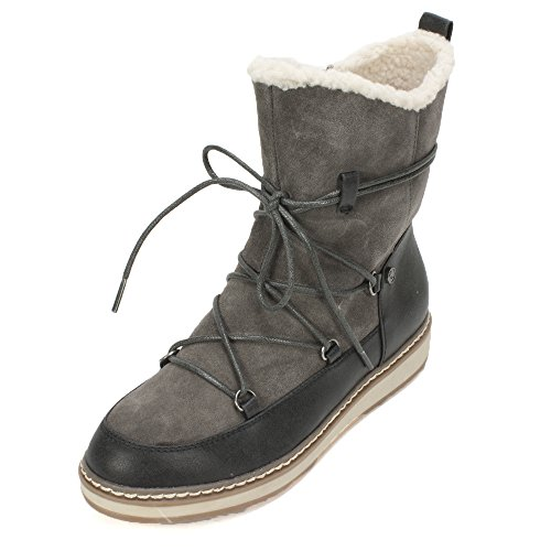 White Mountain Women's Topaz Snow Boot, Dark Charcoal, 9.5 M US (Front Boot Lacing Ankle)