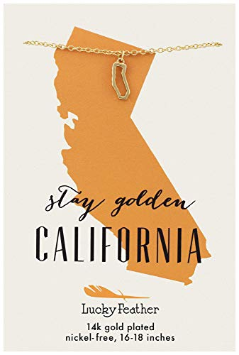 Lucky Feather California Shaped State Necklace, 14K Gold-Dipped Pendant on Adjustable 16
