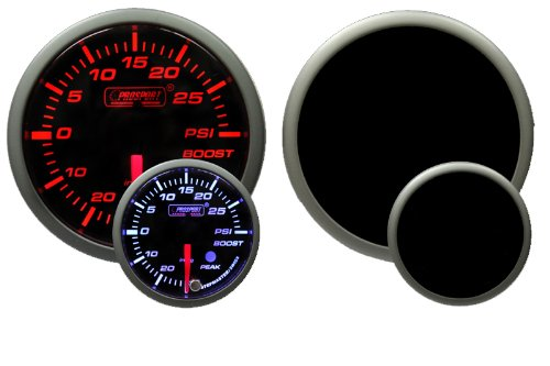 60mm Boost Gauge (Boost Gauge-60mm Electrical Amber/white Premium Series with Peak Recall and Warning 60mm (2 3/8