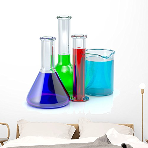 Wallmonkeys Chemical Test-tubes Laboratory Glassware Wall Decal Peel and Stick Educational Graphics (48 in H x 48 in W) WM167622