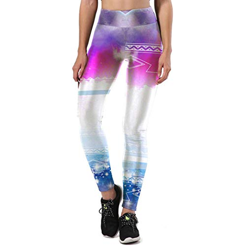 JOFOW Women Leggings,Halloween Costume Gradient Galaxy Print High Waist Elastic Skinny Trousers Yoga Pants for Women (L,Multicolored) -