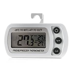 Digital Refrigerator Freezer Room Thermometer, Max/Min Record Function with Large LCD Display (White)