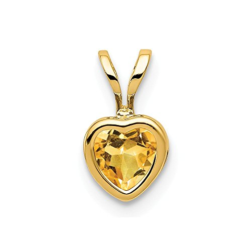 14k Yellow Gold 5mm Heart Citrine Bezel Pendant Charm Necklace Gemstone Love Ful Fine Jewelry Gifts For Women For Her