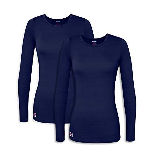 Sivvan 2 Pack Women's Comfort Long Sleeve T-Shirt / Underscrub Tee - S8500-2 - NVY - L