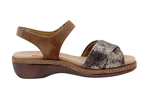 Komfort Damenlederschuh Piesanto 8805 sandale klettverschluss herausnehmbaren einlegesohlen bequem breit Visón