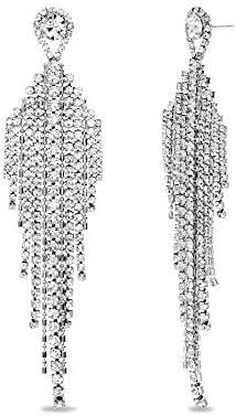 Steve Madden Silver Tone Rhinestone Fringe Chandelier Earrings For Women