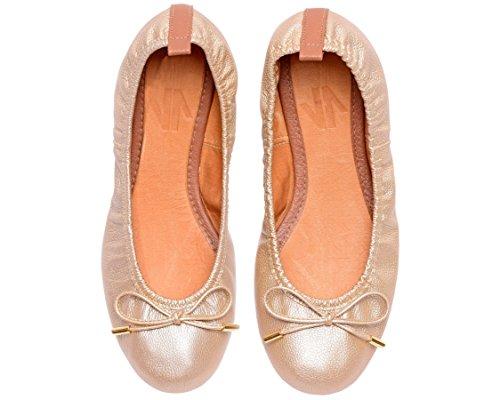 VIDALeather Slipper Ballet Flats for Women | Bailarinas De Mujer Gold ()